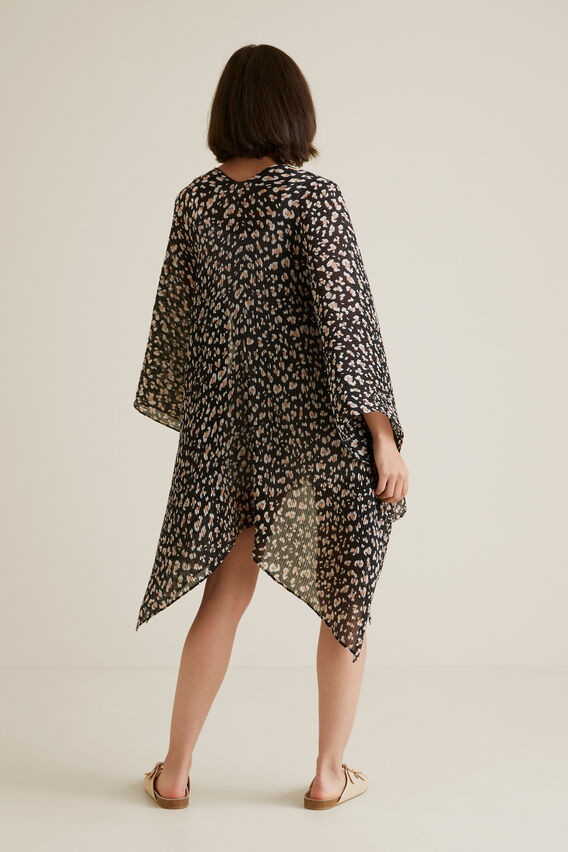 Pleated Summer Poncho  BLACK OCELOT  hi-res